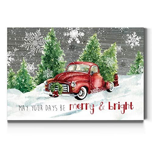 Renditions Gallery Merry & Bright Wall Art, Red Truck and Christmas Trees, White Snowflake, Festive Decorations, Premium Gallery Wrapped Canvas Decor, Ready to Hang, 8 in H x 12 in W, Made in America