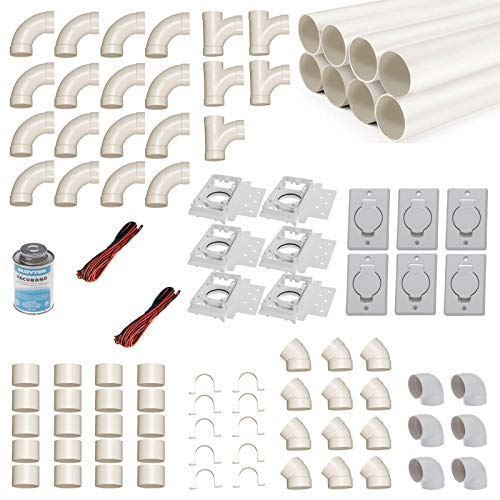 Zentralstaubsauger Einbau-Set für 6 Saugdosen mit Rohren, Fittings & Co. - Montageset für den DIY-Einbau einer Staubsaugeranlage - Saugdose Deckel rund rechteckig