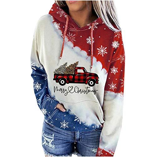 riou Sudaderas Mujer con Capucha Navidad Costura con Cordón Suéter impresión Camiseta con Bolsillo Deportivos Pullover Moda Originales Top Otoño e Invierno