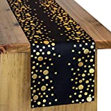 Letjolt Black and Gold Table Runners Glittering Table Runner Birthday Party Table Decorations Wedding Bridal Shower Decor Birthday Party Cotton Fabric 12x72 Inches