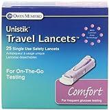 Unistik Travel Lancets Comfort 28G 25 EA - Buy Packs and SAVE (Pack of 2)