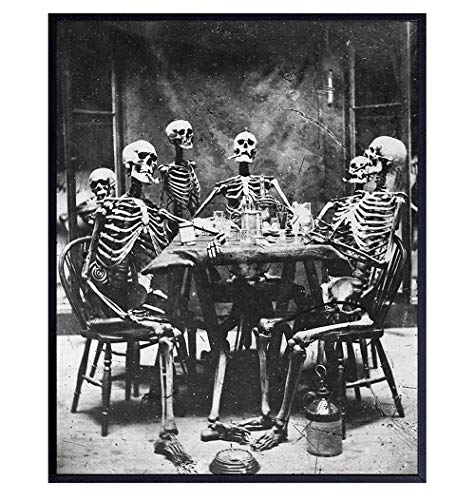 Skeleton Decor - Skeleton Wall Art - Goth Gothic Home Decor - Wicca Decor - Wiccan, Witchcraft Supplies - Paganism Pagan Gifts - Vintage Human Anatomy Photo - Funny Creepy Scary Picture