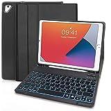 Hülle mit Tastatur für iPad 9.7 2018 6.Generation und 2017 5.Generation/iPad Air 1/iPad Air 2/iPad Pro 9.7 - Slim Schutzhülle mit Pencil Halter Wireless Beleuchtete Tastatur (Schwarz)