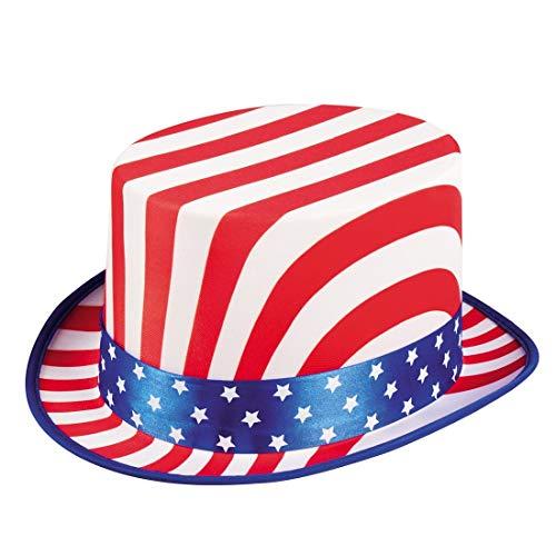 Cooler USA Zylinder für Damen und Herren / Ø ca. 28cm, Höhe 14cm / Vereinigte Staaten von Amerika Hut / Perfekt angezogen zu Fasching & Kostümfest