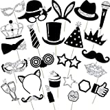 24 Pieces Party Photo Booth Props Mix of Hats, Wine Glass, Lipstick, Tie, Crowns and More for Variety Party Birthday Parties Weddings (Silvery)