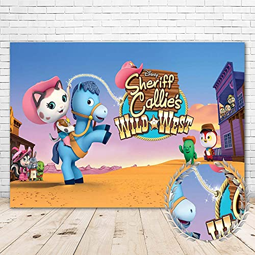 Sheriff Callie Backdrop for Kids Happy Birthday Party Supplies 7x5 Vinyl Sheriff Callies Wild West Theme Birthday Banner Decorations Cake Table Room Wall Decor Photo Booth Background Props