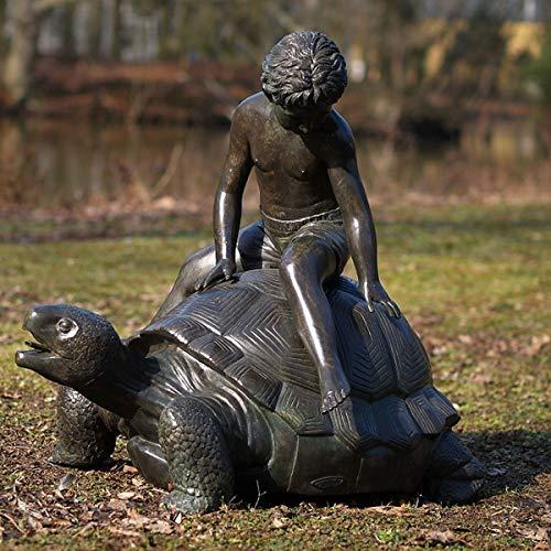 Kunsthandel Lohmann Großer Bronze-Wasserspeier Junge reitet auf Schildkröte 80cm Garten-Skulptur