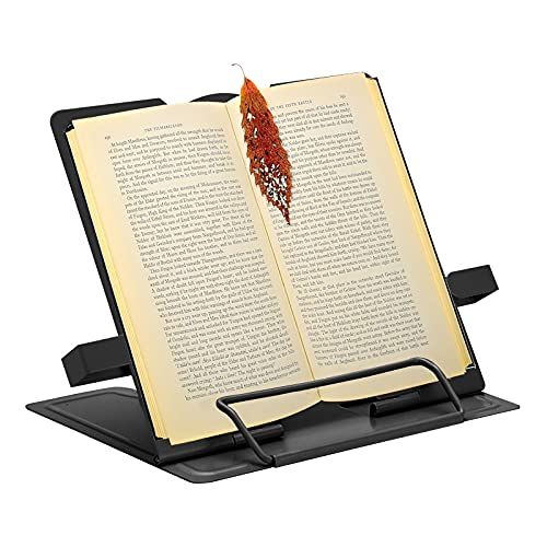 Book Stand Holder Supporto per Libri Portatile in Metallo Lettura per Libri da Cucina a Pieghevole 6 Altezze Regolabile Metallo Book Stand per Libri, cuochi, Ricette, iPad, Tablet Black