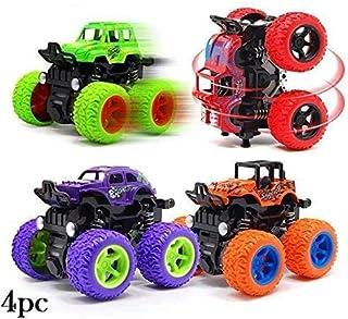 SaleON 4pc 4WD Mini Monster Trucks Friction Powered Cars for Kids Big Rubber Tires Baby Boys Super Cars Blaze Truck Children Gift Toys Mini Rock Crawler (Set of 4)