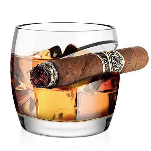 Kollea Cigar Glass - Old Fashioned Whiskey Glass with Built-In Cigar Rest Holder, Gifts for Men Who...