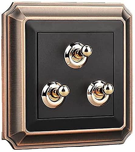Dkdnjsk 86 Tipo Interruptor de palanca retro Aleación de zinc Panel de bronce Estilo nórdico Interruptor de luz de pared de palanca de latón 10A 110-250V Interruptor retro hecho a mano Negro Frosted 1