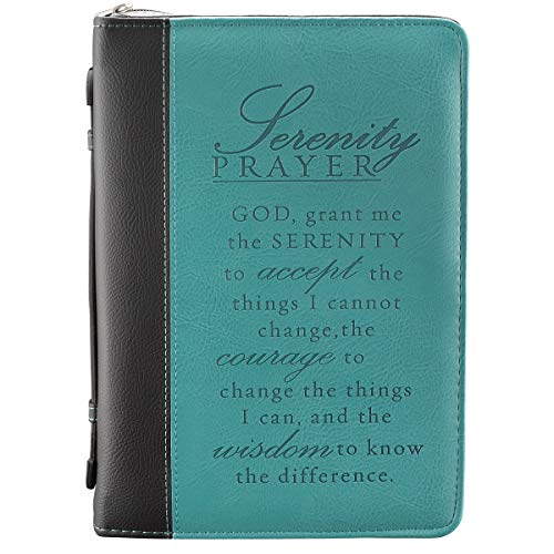 Teal Faux Leather Bible Cover for Women | Inspirational Serenity Prayer | Zippered Case for Bible or Book with Handle, Large
