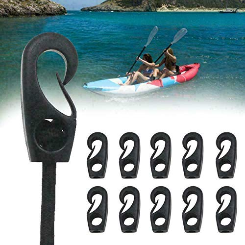 HHYSPA 10x Plastic Bungee Hooks For Shock Cord Tie Down Canoe Kayak, Plastic Bungee Shock Cord Hook Heavy For Camping Exercise Boat Kayak