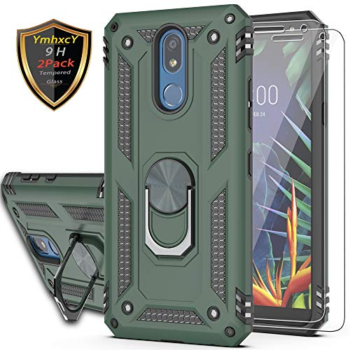 YmhxcY LG K40/K12 Plus/Solo LTE/Harmony 3 Case with Tempered Glass Screen Protector [2 Pack], 360 Degree Rotating Ring Double Layer Shockproof Slim Drop Full Body Protection LG X4 2019-JH Dark Green