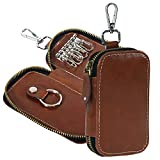 Storite PU Leather Key Case Pouch Wallet Keychain Key Holder Ring with 6 Hooks Zipper Closure Brown (12.5 x 7.5 cm)