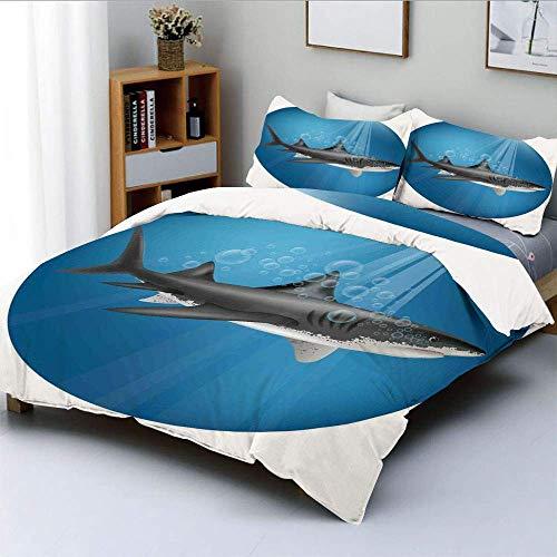 Qoqon Bettbezug-Set, Hai im Meer mit Sonnenstrahlen im Kreis Aquatic Underwater Creature Home DecorDecorative 3-teiliges Bettwäscheset mit 2 Kissen Sham, Blaugrau, Kinder & Erwachse