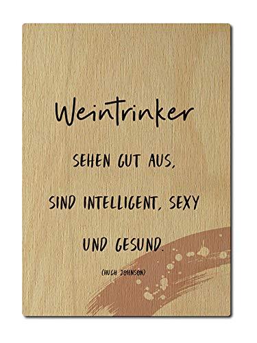 Interluxe Postkarte aus Holz Weintrinker sehen gut aus DIN A6 105x148mm Karte Echtholz Grußkarte Spruch