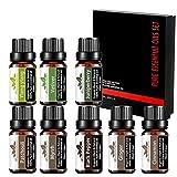 Juego aceites esenciales Bio - Mumianhua Aceite aromaterapia 8x 10ml set aceites esenciales puros para difusor (Vetiver, Patchouli, Myrrh, Ylang-ylang, Pimienta Negra, Canela Jengibre, Baya Enebro)