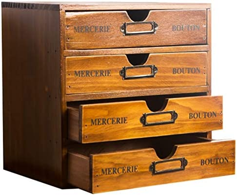 Primo Supply Home Office Desk Organizer with 4 Storage Drawers Wooden Storage Box Rustic Dresser product image