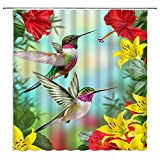 Hummingbird Shower Curtain Flower Red Yellow Floral Birds Morning Glory Tropical Blossom Spring Summer Green Leaf Nature Plant Modern Art Print Decor Fabric Bathroom Curtain Set with Hooks 70x70 Inch