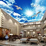 Papel pintado mural adhesivo de pared Papel tapiz mural Zenith de techo grande personalizado 3D estéreo azul cielo nubes blancas paloma naturaleza paisaje foto mural techo fondos de pantalla