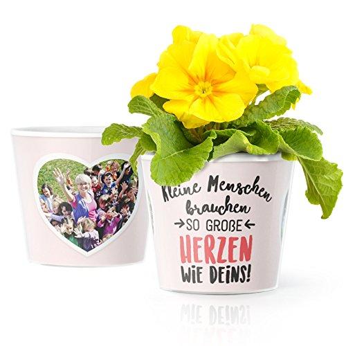 MyFacepot Tagesmutter Geschenk Blumentopf (ø16cm) | zum Danke Sagen Erzieherin im Kindergarten mit Rahmen für Zwei Fotos (10x15cm) | Kleine Menschen brauchen so große Herzen wie Deins!