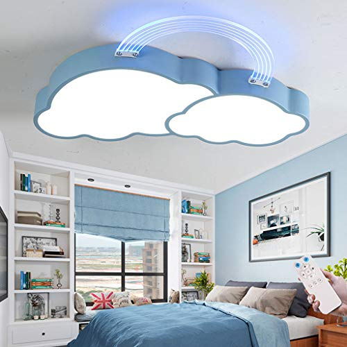 Lámpara De Techo LED Moderna Nube Pantalla De Acrílico Luz De Techo Regulable Control Remoto Comedor Luces Colgantes Dormitorio Sala De Estar Habitación Infantil Cocina Lámpara Colgante (Blue/50CM)