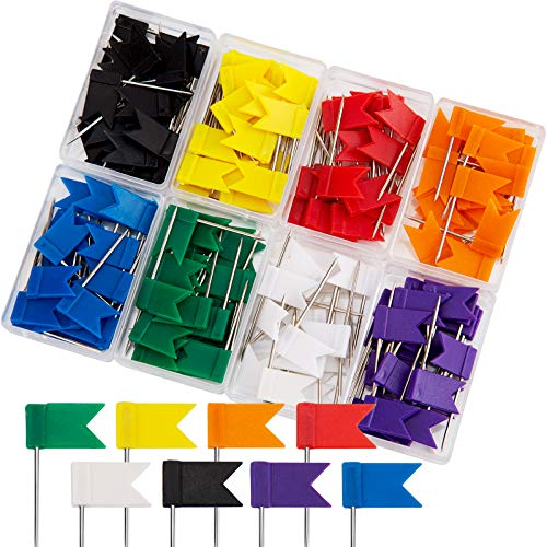 AIEX 160 Piezas Chinchetas de Mapa de Plástico Pines Agujas para Tablero Multicolor Forma de la Bandera (35mm)
