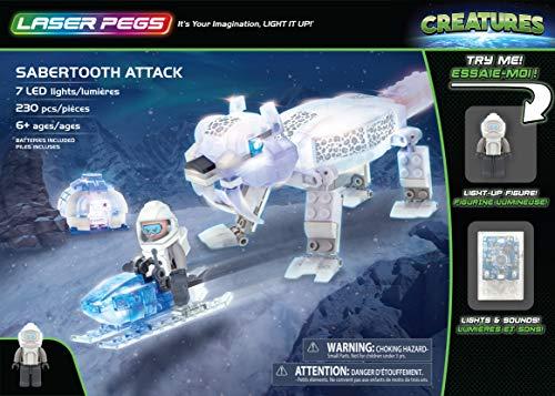 Laser Pegs Sabertooth Attack Light Up Building Kit (230Piece)