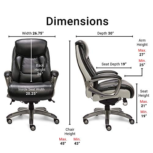 Serta 44942 Executive Office Chair with Smart Layers Technology | Leather and Mesh Ergonomic with Contoured Lumbar and ComfortCoils | Black & White