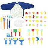 Pinceles para Pintar 46pcs esponja plástica dibujo de la pintada de los niños Juguetes for niños Cepillo de pintura de flores pintura del artista Conjunto Fácil de Limpiar y Práctica