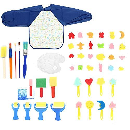 WH-IOE Sets de pinceaux de Peinture 46Pcs éponge Plastique Graffiti Dessin Enfants Jouets for Enfants Peinture Pinceau Dessin Fleur Pen Peinture à l'huile pour Aquarelle