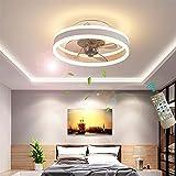 LED Deckenleuchte Mit Ventilator 30W Pendelleuchte Dimmbar Fernbedienung 6 Gang Windgeschwindigkeit Moderne Kinderzimmer Leiser Lüfter Kronleuchter Wohnzimmer Schlafzimmer Küchenlampen Leuchten,Weiß