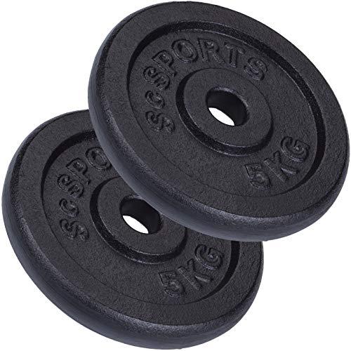 ScSPORTS 10 kg Hantelscheiben-Set, 2 x 5 kg, Gusseisen Gewichte, 30/31 mm Bohrung, geprüft und bestanden durch Intertek (1)