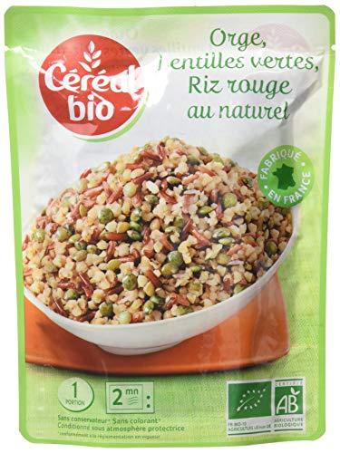 Céréal Bio Orge, Lentilles Vertes, Riz Rouge - Sachet Micro-ondable, Rapide à Réchauffer - Végan et Bio - 250g - 200637