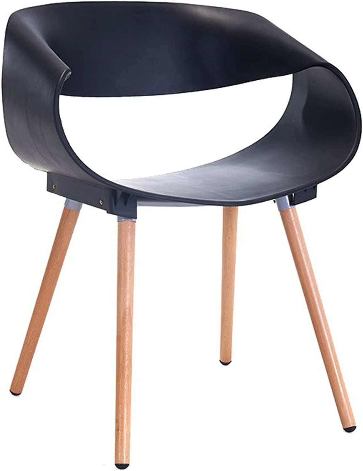 CQOZ Modern Minimalist Creative Chair Negotiate Tables and Chairs Solid Wood Plastic Backrest armrest Dining Chair Sofa Stool (color   Black)