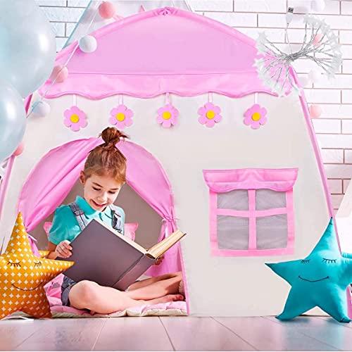 AMZATEK 1.3m Casa de Campaña para Niñas, Juego de Carpa Castillo Princesa con Luces de Estrellas y Cortinas Serie Luces Led De La Estrella Cuerda