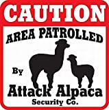 Ufcell Caution Attack Alpaca Sign Dog Yard Sign Caution Area Crossing Sign Metal Warning Sign Plaque Funny Novelty Gifts 12x12