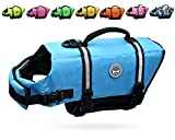 Vivaglory Ripstop Dog Life Vest, Reflective & Adjustable Pet Life Jacket with Enhanced Buoyancy & Rescue Handle, Blue, XS
