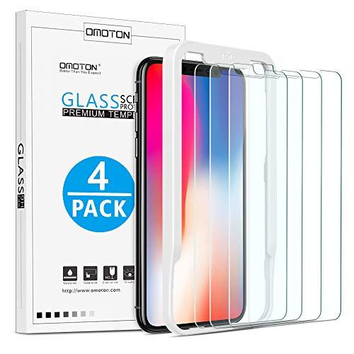 OMOTON [4 Stück] Panzerglas Schutzfolie für iPhone 11 Pro und iPhone X und iPhone XS mit Positionierhilfe [9H Härte], [Anti-Kratzen], [Anti-Öl], [Anti-Bläschen].