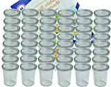 MamboCat 48er Set Weck Gläser 160 ml Sturzgläser mit 48 Glasdeckeln incl. Diamant-Zucker...