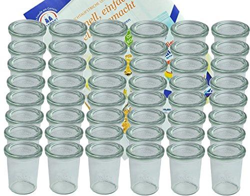 MamboCat 48er Set Weck Gläser 160 ml Sturzgläser mit 48 Glasdeckeln incl. Diamant-Zucker Gelierzauber Rezeptheft I Original Weck Sturzglas Dessertglas I Einweckgläser mit Deckel für Kuchen Gelees