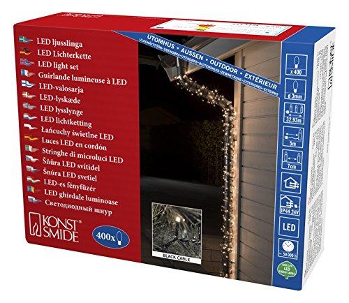 Konstsmide 3644-110 Micro LED Lichterkette / für Außen (IP44) / VDE geprüft / 24V Außentrafo / 400 warm weiße Dioden / schwarzes Kabel