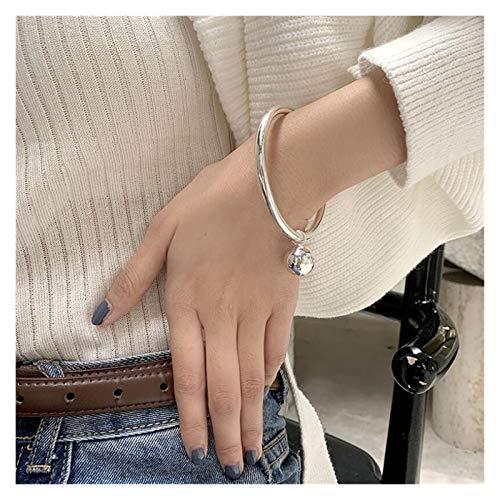 Clong01 Pulsera de Las señoras 925 Plata esterlina Simple Pelota Redonda Cerrada Pulseras brazaletes para Mujer Amigo Creativo joyería Fina Bien diseñado, (Size : SAB190 Big)