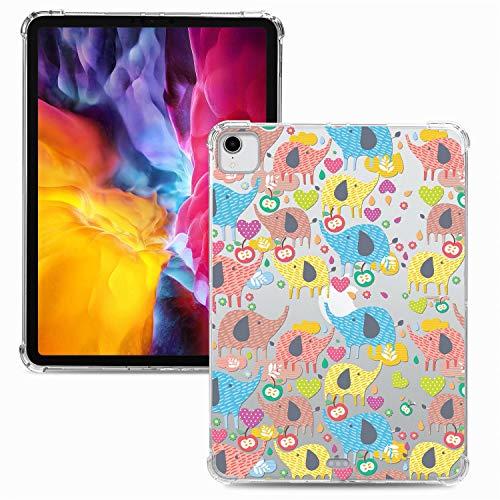 Miagon Weich Dünn Hülle für iPad Pro {11 Zoll} 2018,Kreativ Durchsichtig Bunt Muster Clear Leicht TPU Crystal Bumper Schutzhülle Cover mit Airbag Ecke,Elefant