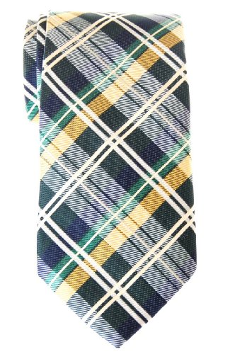 Retreez elegante tartán de cuadros escoceses con tejido de microfibra para hombre corbata – varios colores Verde Dark Green and Yellow and Navy Blue Talla única