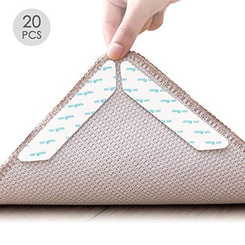 Mitening Teppich Anti Rutsch Unterlage, 20 Stück Anti Rutsch Teppichunterlage Rutschmatte Teppich Waschbar Wiederverwendbar Rutschfest Teppiche Aufkleber Starke Klebrigkeit Antirutschmatte für Teppich