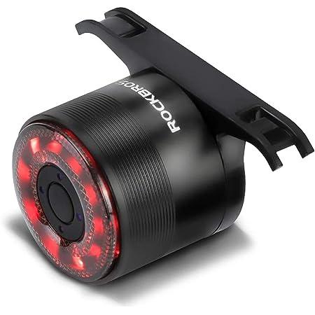 ROCKBROS(ロックブロス)自転車 テールライト 高輝度 ledライト リアライト マルチカラー アルミ合金 USB充電式 バッテリー残量表示 5点灯モード 夜間 補助灯 簡単取り付け