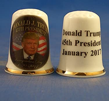 Birchcroft Porcelain China Collectable Thimble - Donald Trump Inauguration Day 2017 - Free Gift Box