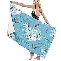 最高の柔らかさ100%ポリエステルバスタオルアイスランドマップ速乾性ハンドタオルハンドタオルフィットネスタオルバスシート、洗濯機で洗える女性用ラップタオル